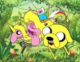 Dibujo Finn y Jake con la Princesa Chicle pintado por DEMATTEUZ
