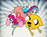Dibujo Finn y Jake con la Princesa Chicle pintado por Isadd1