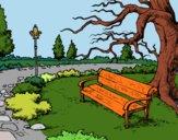 Dibujo Paisaje de parque pintado por polillaty