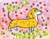 Dibujo Perro salchicha pintado por rROSA
