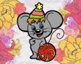 Ratón con Gorro de Navidad
