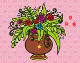 Un jarrón con flores
