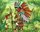 Dibujo Guerrero azteca pintado por Francis_XD