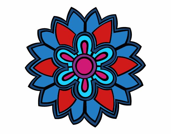 Dibujo Mándala con forma de flor weiss pintado por bonfi