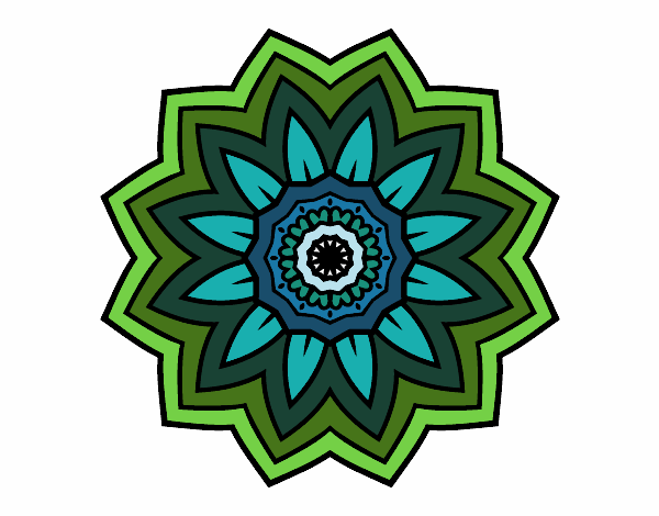 Dibujo Mandala flor de girasol pintado por bonfi