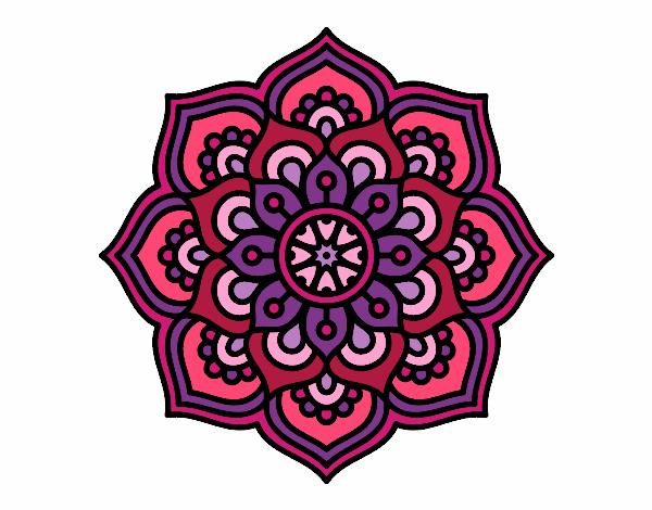 Dibujo Mandala flor de la concentración pintado por bonfi