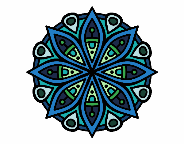 Dibujo Mandala para la concentración pintado por bonfi