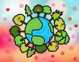 Dibujo Planeta tierra con árboles pintado por AbrilLOLXD