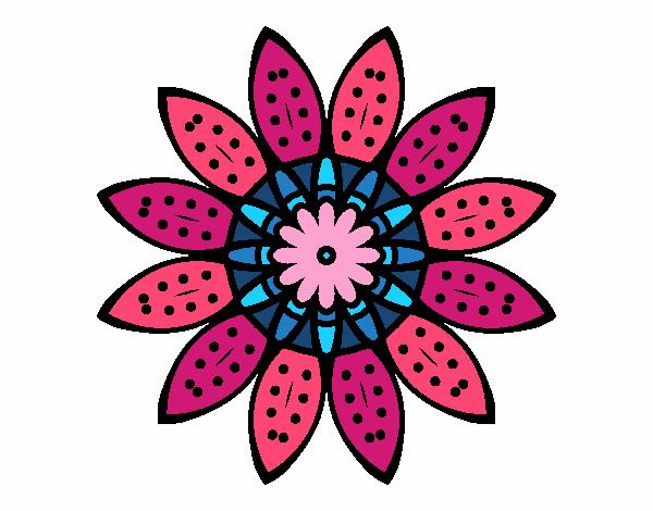 Dibujo Mandala flor con pétalos pintado por bonfi