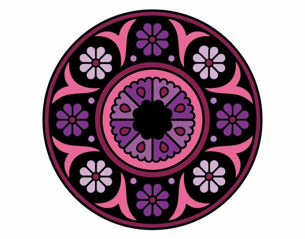 Dibujo Mandala flor pintado por bonfi