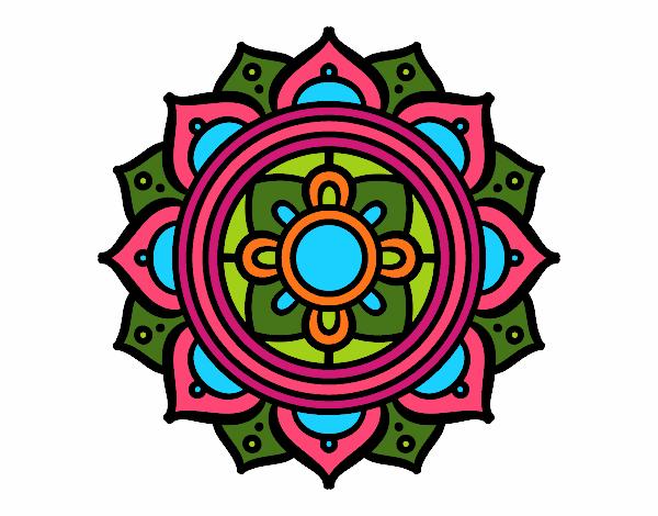 Dibujo Mandala mosaico griego pintado por bonfi