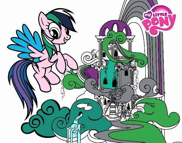 Dibujo Rainbow Dash en su palacio pintado por popida