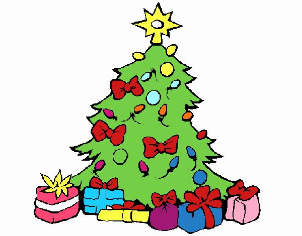 Dibujo de rbol de navidad pintado por en el for Dibujo arbol navidad