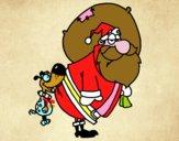 Perro mordiendo a Papa Noel