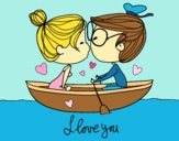 Dibujo Beso en un bote pintado por Danna03