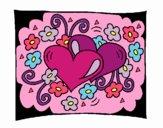Dibujo Corazones y flores pintado por Danna03