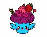 Cupcake kawaii con fresa
