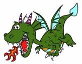 Dibujo Dragón echando fuego pintado por brisa29