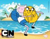 Finn y Jake abrazados