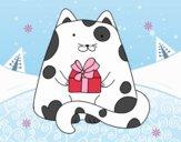 Gato con un regalo