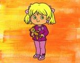 Dibujo Niña con oso de peluche pintado por Socovos
