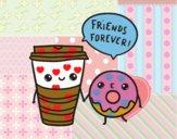 Dibujo Café y donut pintado por taradelaf