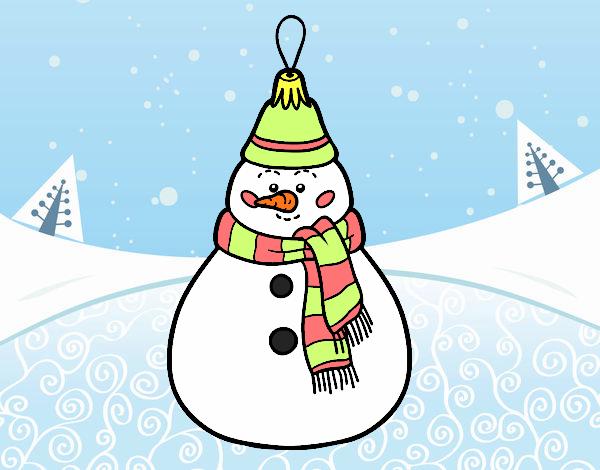 Muñeco De Nieve Dibujo: Dibujo De Decoración De Navidad Muñeco De Nieve Pintado