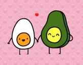 Dibujo Huevo y aguacate pintado por taradelaf