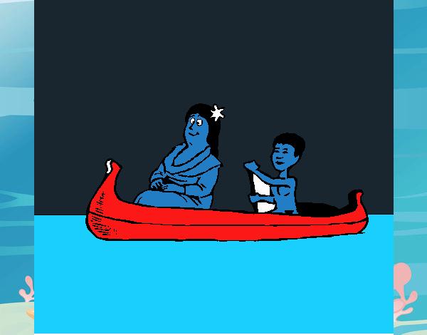 Madre e hijo en canoa