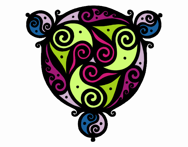 Dibujo Mandala con tres puntas pintado por belkmar