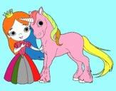 Dibujo Princesa y unicornio pintado por andy1312