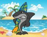 Dibujo Tiburón surfero pintado por Socovos