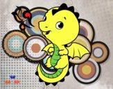 Dibujo Un dragón bebé pintado por larulos