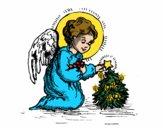 Dibujo Angelito navideño pintado por superchic