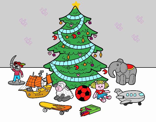 Dibujo Árbol de Navidad y juguetes pintado por jhaslitpms