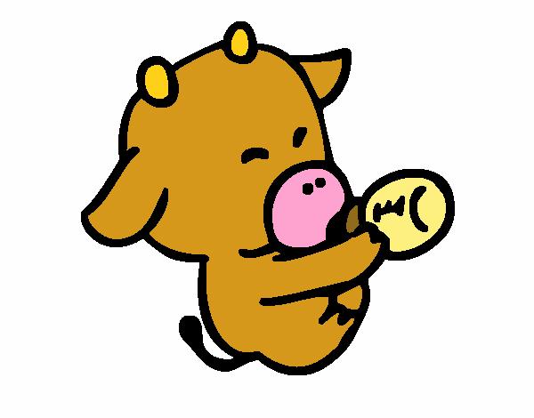 bebe vaca dibujo de sara