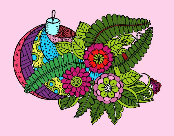 Dibujo Bola de Navidad con decoración pintado por jhaslitpms