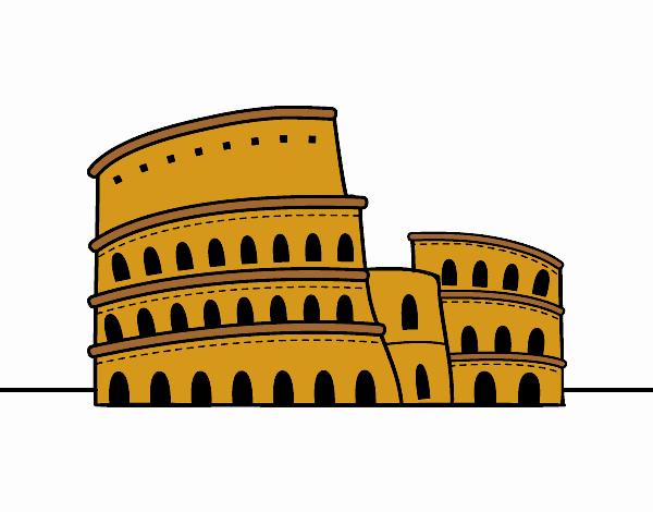 Dibujo El Coliseo de Roma pintado por jhaslitpms