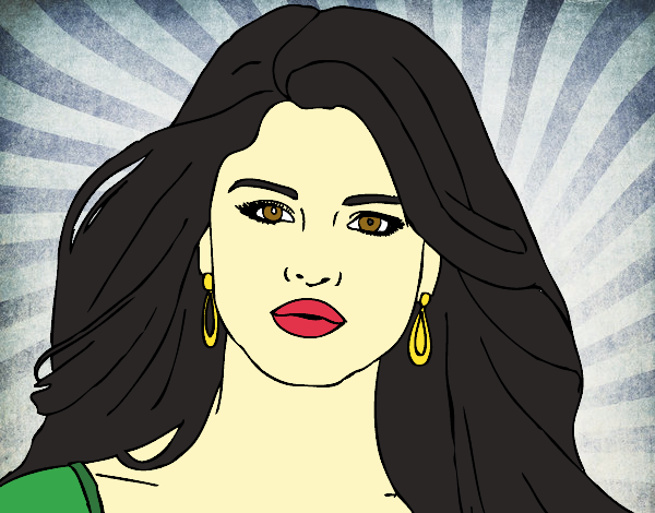 Dibujo Selena Gomez primer plano pintado por RocioNayla
