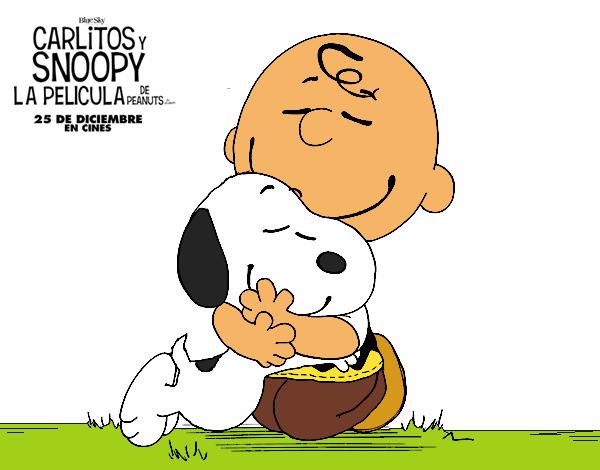 Dibujo Snoopy y Carlitos abrazados pintado por Socovos