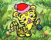 Dibujo Tigre navideño pintado por hermasa