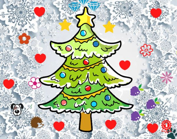 Dibujo Árbol de navidad decorado pintado por cuyito