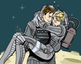 Dibujo Astronautas enamorados pintado por LosPrimos6