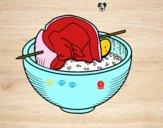 Dibujo Brocheta de carne con arroz pintado por DanteLuqez
