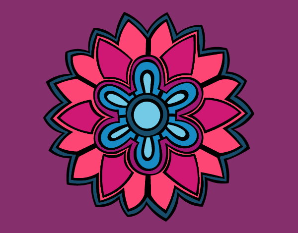 Dibujo Mándala con forma de flor weiss pintado por MYRNA1938
