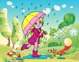 Dibujo Niña con paraguas bajo la lluvia pintado por hermasa