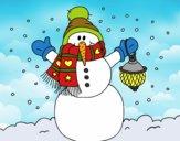Dibujo Un muñeco de nieve navideño pintado por LosPrimos6