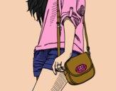 Dibujo Chica con bolso pintado por Marialop
