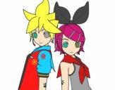 Dibujo Len y Rin Kagamine Vocaloid pintado por dipperdibu
