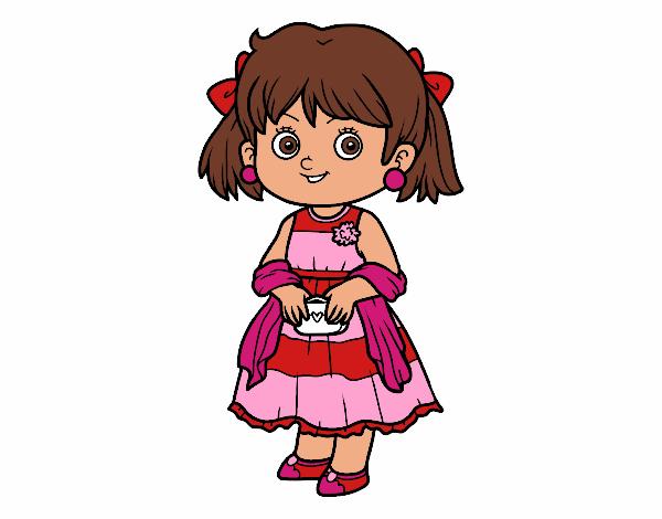 Dibujo Niña con vestido elegante pintado por AgusNet